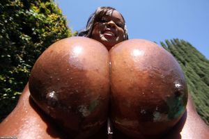 Oh shit! These fat ebony mounds is so immense and real, I want squashes those ebony boobs!