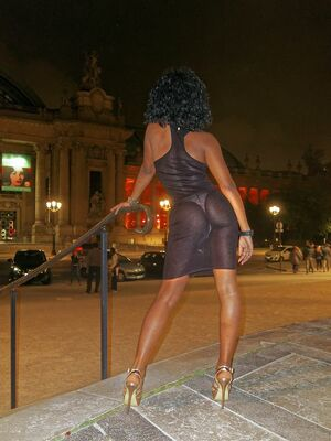 Beautiful French ebony girl exhibitionist on the street